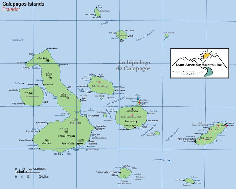 Galápagos Map Latin American Escapes - Galapagos map